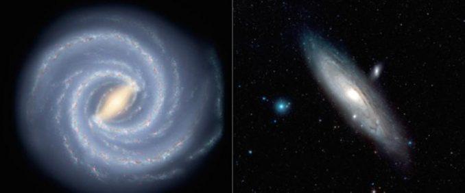 Künstlerische Darstellung unserer Milchstraßen-Galaxie (links) und ein Bild der Andromeda-Galaxie (rechts). (Illustration der Milchstraßen-Galaxie: NASA / JPL-Caltech; Bild der Andromeda-Galaxie: ESA / Hubble & Digitized Sky Survey 2, Davide De Martin)
