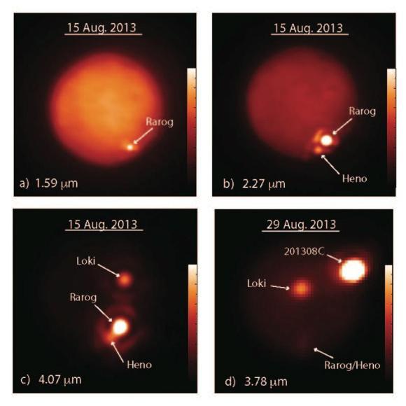Positionen und Ablauf der drei starken Eruptionen auf dem Jupitermond Io. (NSF / NASA / JPL-Caltech / UC Berkeley / Gemini Observatory / W. M. Keck Observatory)