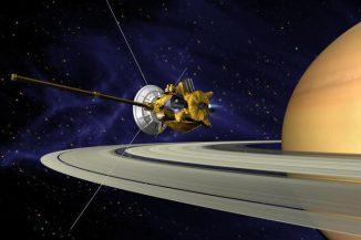Künstlerische Darstellung einer Triebwerkszündung Cassinis im Saturnsystem. (NASA / JPL)
