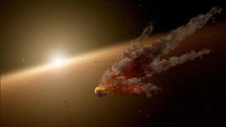 Diese künstlerische Illustration zeigt die direkten Nachwirkungen einer großen Asteroidenkollision in der Umgebung des Sterns NGC 2547-ID8, einem 35 Millionen Jahre alten, sonnenähnlichen Stern. (NASA / JPL-Caltech)