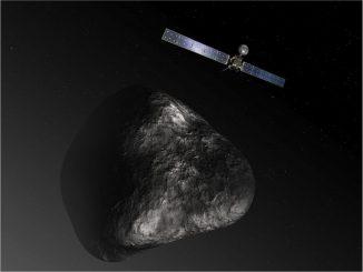 Künstlerische Darstellung des Rosetta-Orbiters beim Kometen 67P/Churyumov-Gerasimenko. Die Illustration ist nicht maßstabsgerecht. (ESA / ATG Medialab)