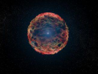 Dies ist eine künstlerische Illustration der Supernova SN 1993J, die in der Galaxie M81 explodierte. Mit Hubble konnten Astronomen den begleitenden blauen Heliumstern identifizieren, hier zu sehen im Zentrum des expandierenden Nebels. (NASA, ESA, G. Bacon (STScI))