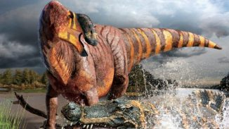 Illustration eines Exemplars der neuen Dinosaurierart Rhinorex condrupus in seinem Lebensraum. (Terry Gates)