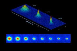 Diese Bildsequenz aus Falschfarbenaufnahmen zeigt die Entstehung eines Bose-Einstein-Kondensats im Prototyp des Cold Atom Laboratory. Rot weist auf eine höhere Dichte hin. (NASA / JPL-Caltech)