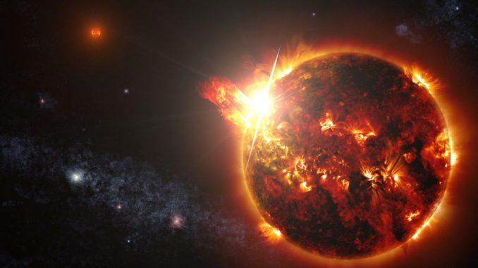 Künstlerische Darstellung eines roten Zwergsterns im Doppelsternsystem DG CVn. Der Stern entfesselte eine Reihe starker Flares, die von dem NASA-Satelliten Swift beobachtet wurden. (NASA / Goddard Space Flight Center / S. Wiessinger)