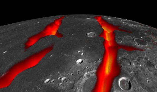 Ein Blick über Oceanus Procellarum in Richtung Süden. Das Bild zeigt, wie die westlichen Grenzstrukturen in ihrer aktiven Zeit ausgesehen haben könnten. (NASA / Colorado School of Mines / MIT / JPL / GSFC)