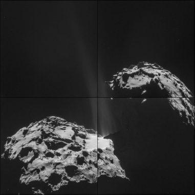 Fotomontage des Kometen 67P/Churyumov-Gerasimenko. Die Montage besteht aus vier Aufnahmen, die am 26. September 2014 von der Raumsonde Rosetta gemacht wurden. In der Bildmitte sind Jets aus Gas und Staub erkennbar, die von der Oberfläche des Kometen wegströmen. (ESA / Rosetta / NAVCAM)