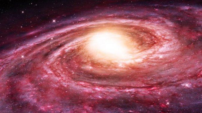 Künstlerische Darstellung der Milchstraßen-Galaxie. Ihr heißer Halo scheint den sternbildenden, atomaren Wasserstoff aus ihren begleitenden, sphäroiden Zwerggalaxien wegzufegen. (NRAO / AUI / NSF)