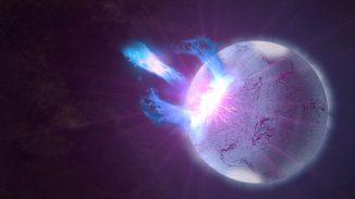 Ein Bruch in der Kruste eines hochgradig magnetisierten Neutronensterns, hier in einer künstlerischen Darstellung, kann hochenergetische Eruptionen auslösen. Fermi-Beobachtungen dieser Ausbrüche enthalten Informationen darüber, wie die Sternoberfläche vibriert, was neue Einblicke in den inneren Aufbau dieser Objekte ermöglicht. (NASA / Goddard Space Flight Center / S. Wiessinger)