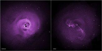 Diese beiden Chandra-Aufnahmen zeigen Turbulenzen im Perseus-Galaxienhaufen (links) und im Virgo-Galaxienhaufen (rechts). (NASA / CXC / Stanford / I.Zhuravleva et al)