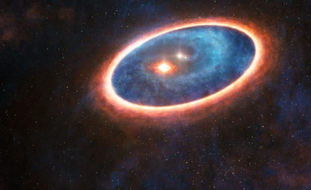 Künstlerische Darstellung der Gas- und Staubstrukturen um das Doppelsternsystem GG Tau-A. Forscher haben in der Region zwischen den beiden Scheiben Gasknoten registriert. Die äußere Scheibe versorgt die innere mit Materie, wodurch die Entstehung von Planeten möglich wäre. (ESO / L.Calçada, ALMA (ESO / NAOJ / NRAO))