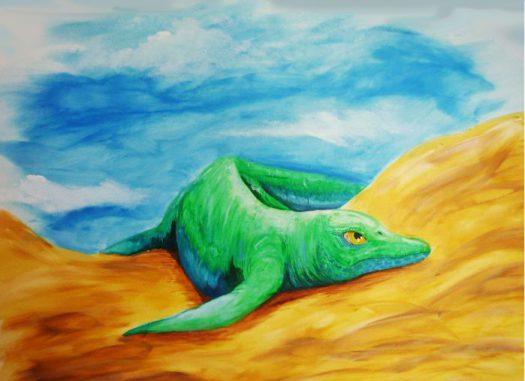 Diese Illustration zeigt, wie der neu entdeckte amphibische Ichthyosaurier ausgesehen haben könnte, als er vor circa 248 Millionen Jahren im heutigen China lebte. (Stefano Broccoli / University of Milan)