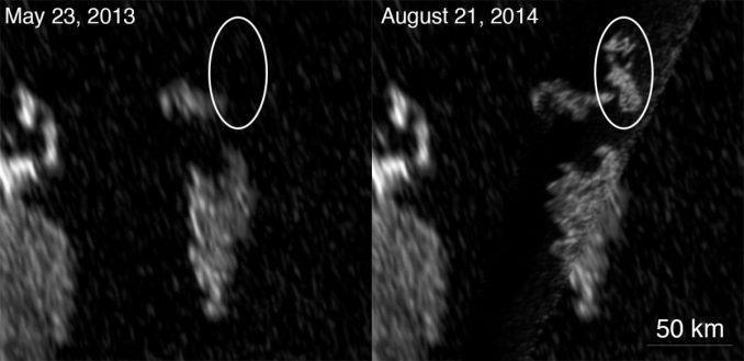 Das Radarinstrument an Bord von Cassini offenbarte bei einem Vorbeiflug am 21. August 2014 neue, helle Strukturen in Titans größtem See, Kraken Mare. Im Mai 2013 waren sie noch nicht vorhanden. (NASA / JPL-Caltech / ASI / Cornell)