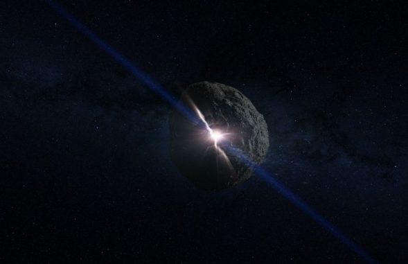 Künstlerische Darstellung der Kollision, aus der der Asteroid Bennu hervorging. (NASA / Goddard Space Flight Center / Conceptual Image Lab)