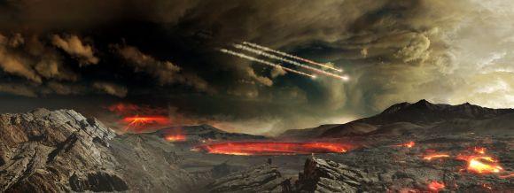 Illustration des Großen Bombardements auf der jungen Erde. (NASA / Goddard Space Flight Center / Conceptual Image Lab)