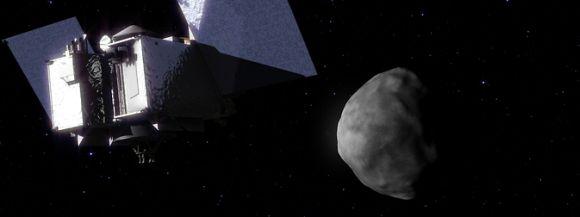 Illustration der Sonde OSIRIS-REx, wie sie den Asteroiden Bennu erreicht. (NASA / Goddard Space Flight Center / Conceptual Image Lab)