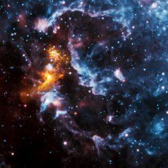 Dieses Bild basiert auf Daten der Weltraumteleskope Chandra und WISE. Es zeigt die komplexen Gasstrukturen in der Umgebung des Pulsars PSR B1509-58. (X-ray: NASA / CXC / SAO; Infrared: NASA / JPL-Caltech)