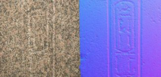 Inschriften auf dem Obelisken von Philae - links die Normalansicht, rechts die Ansicht mit der RTI-Technik. (University of Oxford)