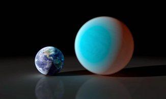 Diese künstlerische Darstellung zeigt einen Vergleich zwischen der Erde (links) und der Supererde 55 Cancri e (rechts). Erstmals haben Forscher einen Transit dieses Exoplaneten von der Erdoberfläche aus beobachtet. (NASA / JPL)