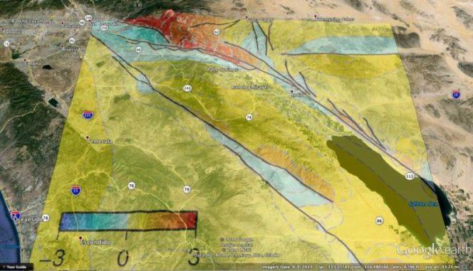 Das Erdbebenrisiko für Städte auf der Westseite des Coachella Valley könnte einer neuen Studie zufolge etwas geringer sein als bisher angenommen. (Courtesy Google Earth and UMass Amherst)
