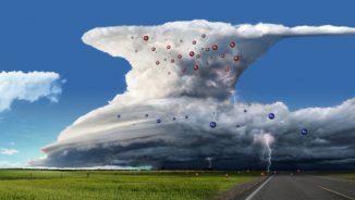 Schematischer Aufbau eines Gewittersturms. Auf- und Abwinde innerhalb der Gewitterzelle sorgen für eine Ladungstrennung. Positive elektrische Ladung sammelt sich im oberen Teil des Sturms, negative elektrische Ladung im unteren. (NASA / Goddard Space Flight Center)