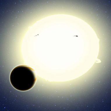 Illustration des neu entdeckten Planeten HIP 116454b vor seinem Zentralstern. Kepler entdeckte den Transit des Planeten im Rahmen seiner zweiten Mission K2. (David A. Aguilar (CfA))
