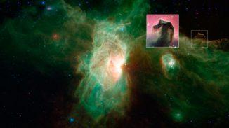 Der berühmte Pferdekopfnebel sieht im sichtbaren Bereich des elektromagnetischen Spektrums (kleines Bild) ganz anders aus als im Infrarotbereich (großes Bild). (NASA / JPL-Caltech / ESO)