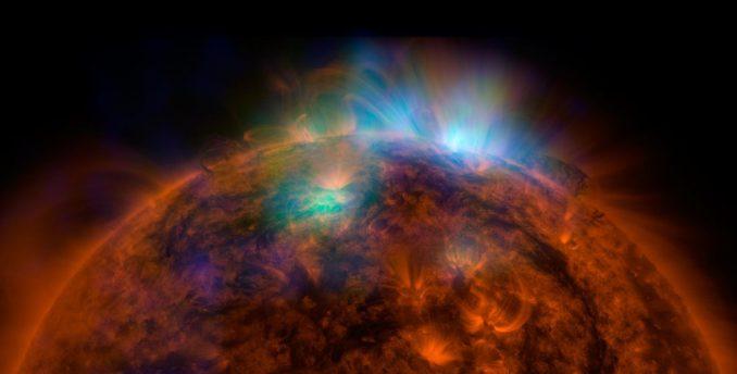 Die Sonne, basierend auf Beobachtungsdaten des Nuclear Spectroscopic Telescope Array (NuSTAR) und des Solar Dynamics Observatory (SDO). (NASA / JPL-Caltech / GSFC)