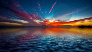Diese künstlerische Darstellung zeigt einen Gasriesen, der über dem Horizont einer fremden Wasserwelt aufgeht. (David A. Aguilar (CfA))