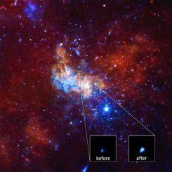 Dieses Bild zeigt das supermassive Schwarze Loch im Zentrum unserer Galaxie vor und nach dem starken Röntgenausbruch. (NASA / CXC / Northwestern Univ. / D.Haggard et al.)