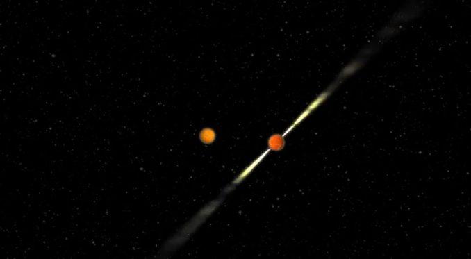 Computerbasierte Darstellung des Pulsar-Doppelsternsystems PSR J1906+0746. (Joeri van Leeuwen / ASTRON)