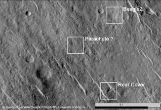Dieses Bild der HiRISE-Kamera zeigt die Objekte, die als Hardware des verschollenen Mars-Landers Beagle 2 interpretiert werden. (NASA / JPL-Caltech / Univ. of Arizona / University of Leicester)