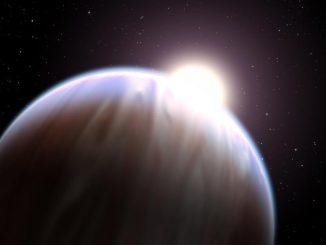 Künstlerische Darstellung eines Exoplaneten in einer Umlaufbahn um seinen Zentralstern. (NASA / ESA)