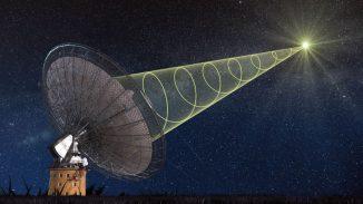 Künstlerische Darstellung des Parkes Radio Telescope, wie es das polarisierte Signal des Radioausbruchs empfängt. (Swinburne Astronomy Productions)