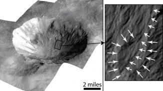 Der Krater Cornelia auf dem großen Asteroiden Vesta. Das Bild rechts zeigt ein Beispiel für die gekrümmten Rinnen (kurze weiße Pfeile) und eine trichterförmige Ablagerung (lange weiße Pfeile). (NASA / JPL-Caltech / UCLA / MPS / DLR / IDA)