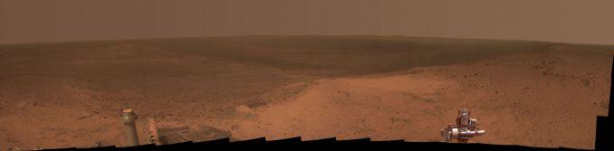 Panoramaaufnahme des Endevour-Kraters, aufgenommen vom Mars-Rover Opportunity. (NASA / JPL-Caltech / Cornell Univ. / Arizona State Univ.)