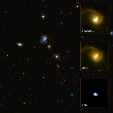 Die Galaxie in der Bildmitte enthält eine Röntgenquelle namens CID-42. Sie könnte das Ergebnis einer Verschmelzung zweier supermassiver Schwarzer Löcher sein und wird mit einer Geschwindigkeit von mehreren Millionen Kilometern pro Stunde aus ihrer Galaxie herauskatapultiert. (X-ray: NASA / CXC / SAO / F.Civano et al; Optical: NASA / STScI; Optical (wide field): CFHT, NASA / STScI)