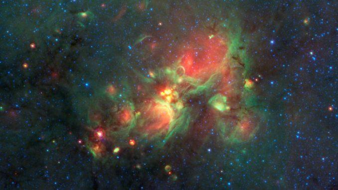 Teilnehmer des internetbasierten Milky Way Project rückten Sternentstehungsstrukturen, sogenannte gelbe Kugeln, in den Fokus von Wissenschaftlern. Sie stellten sich später als eine Phase intensiver Sternentstehung heraus. (NASA / JPL-Caltech)