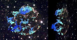 Zwei Perspektiven aus der 3D-Rekonstruktion des Supernova-Überrests Cassiopeia A. Die Farben (von blau nach rot) zeigen die verschiedenen Geschwindigkeiten des abgestoßenen Gases entlang unserer Sichtlinie an. Das Hintergrundbild ist eine Kompositbild von Cassiopeia A, aufgenommen vom Weltraumteleskop Hubble. (D. Milisavljevic (CfA) & R. Fesen (Dartmouth). Background image: NASA, ESA, and the Hubble Heritage Team)