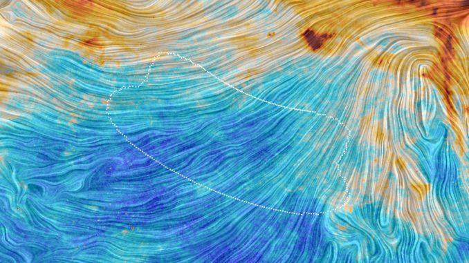 Die Farben auf diesem Bild der Planck-Mission repräsentieren die Emissionen von Staub in unserer Milchstraßen-Galaxie. Die Textur zeigt die Ausrichtung des galaktischen Magnetfeldes an. Sie basiert auf Messungen des polarisierten Lichts, das von dem Staub emittiert wird. (ESA / Planck Collaboration)