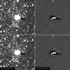 Die Monde Nix und Hydra bei der Umkreisung Plutos, aufgenommen von der Raumsonde New Horizons. (NASA / Johns Hopkins APL / Southwest Research Institute)
