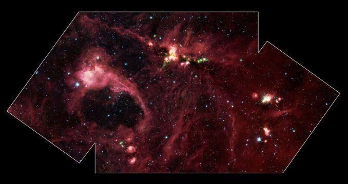 Aufnahme der ausgedehnten Sternentstehungsregion DR 21 vom Weltraumteleskop Spitzer. (NASA / JPL-Caltech)