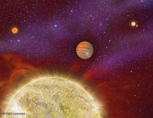 Künstlerische Darstellung des Systems 30 Ari, das aus vier Sternen und einem Planeten besteht. (Karen Teramura, UH IfA)