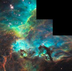 Der Sternhaufen NGC 2074 (oben links) in der Großen Magellanschen Wolke und seine Umgebung. (NASA, ESA, and the Hubble Heritage Team (STScI / AURA)