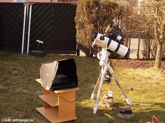 Das Setup für die Sonnenfinsternis: Ein 130/650-Newton-Spiegelteleskop (weiß) und ein Maksutov 90/1250. Die dazwischen liegende Canon EOS 700D mit 300mm-Teleobjektiv ist hier nicht so gut erkennbar. (astropage.eu)