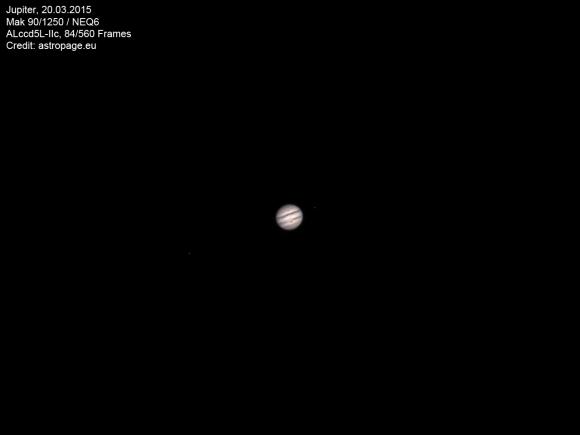 Jupiter am Abend des 20. März 2015, aufgenommen mit einem Maksutov 90/1250. (astropage.eu)