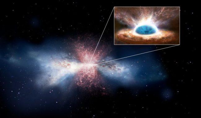 Künstlerische Darstellung einer Galaxie, die ihres interstellaren Gases durch starke Abströmungen beraubt wird. Neue Beobachtungen haben einen Wind identifiziert, der von der Akkretionsscheibe eines Schwarzen Lochs ausgeht und solche Abströmungen erzeugt (kleines Bild). (ESA / ATG Medialab)