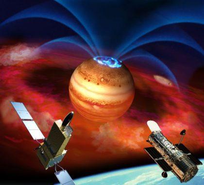 Künstlerische und nicht maßstabsgerechte Darstellung der Weltraumteleskope Hisaki (links) und Hubble (rechts) bei der Beobachtung Jupiters. Die Ströme elektrisch geladener Ionen und Elektronen entlang Jupiters Magnetfeldlinien (blaue Kurven) erzeugen Auroras (blaue Ringe) an den Polen des Planeten. Vulkane auf Io stoßen Material (rot) aus, das mit Jupiters Magnetfeld interagiert. (Japan Aerospace Exploration Agency)