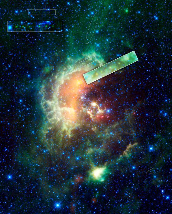 Der Kaulquappennebel wie oben. Lediglich die Spuren der Asteroiden und Satelliten wurden hervorgehoben. (NASA / JPL-Caltech / UCLA)