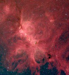Infrarotbild des Katzenpfotennebels NGC 6334, aufgenommen vom Weltraumteleskop Spitzer. Eine neue Studie über den Nebel ergab, dass Magnetfelder die Sternentstehung auf mehreren Entfernungsskalen beeinflussen, von hunderten Lichtjahren bis zum Bruchteil eines Lichtjahrs. (S. Willis (CfA); NASA / JPL-Caltech / SSC)